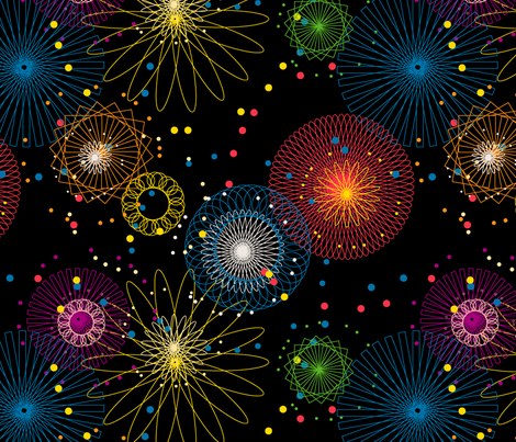 Spiroworks || geometric spirograph fireworks stars starburst 4th of July patriotic outer space galaxy fabric by pennycandy on Spoonflower - custom fabric