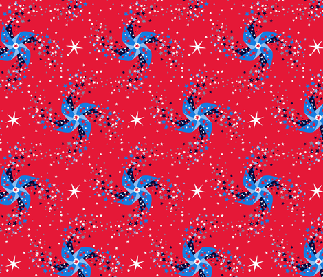 Fireworks pinwheels red fabric by cjldesigns on Spoonflower - custom fabric