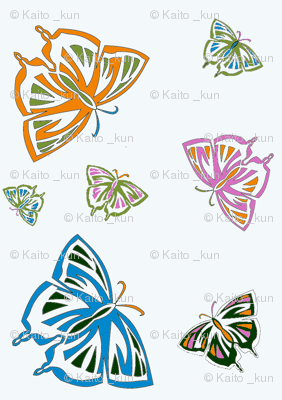 Psychedelic Butterflies in white