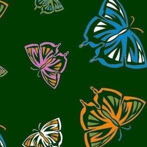 Psychedelic Butterflies in green