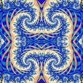 Blue and beige swirl