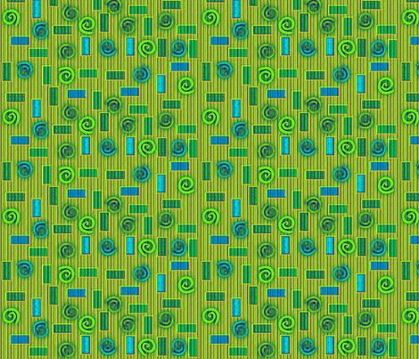 © 2011 Blocks and Swirls Bluegreens fabric by glimmericks on Spoonflower - custom fabric