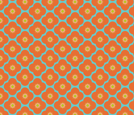 Bloom clouds - orange fabric by kayajoy on Spoonflower - custom fabric