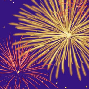 Fireworks Series I - 03 - Orange Gold Fireworks on Blue-Violet