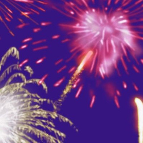 Fireworks Series I - 04Bl - Red and White Fireworks on Blue-Violet