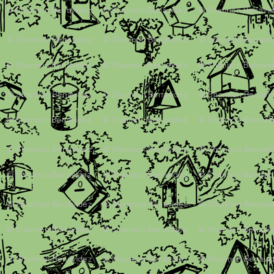 Birdhouse Toile- Green