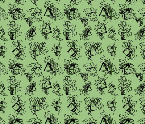 Birdhouse Toile- Green fabric by mayabella on Spoonflower - custom fabric
