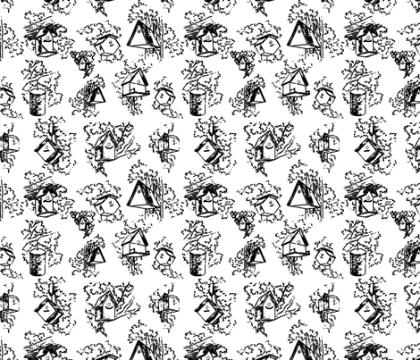 Birdhouse Toile- White fabric by mayabella on Spoonflower - custom fabric