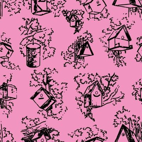 Birdhouse Toile- Pink