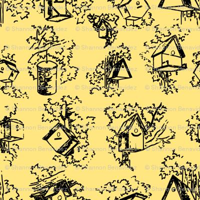 Birdhouse Toile- Yellow