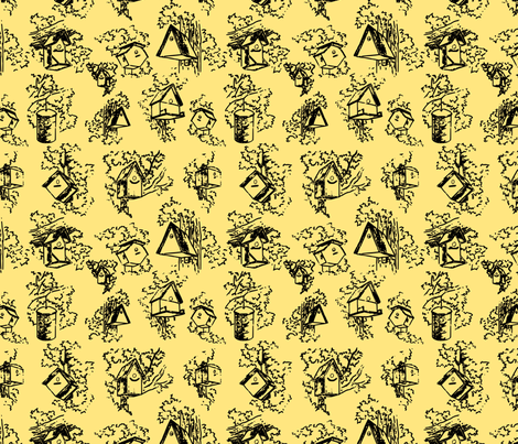 Birdhouse Toile- Yellow fabric by mayabella on Spoonflower - custom fabric