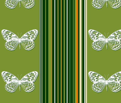 Green striped butterflies fabric by wiccked on Spoonflower - custom fabric