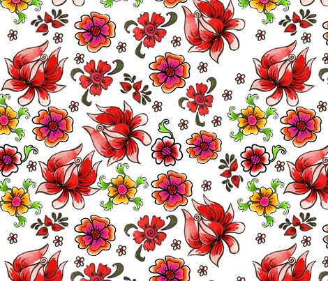 fleur_de_bohème fabric by nadja_petremand on Spoonflower - custom fabric