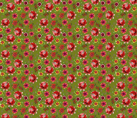 fleur_de_bohème__green_S fabric by nadja_petremand on Spoonflower - custom fabric