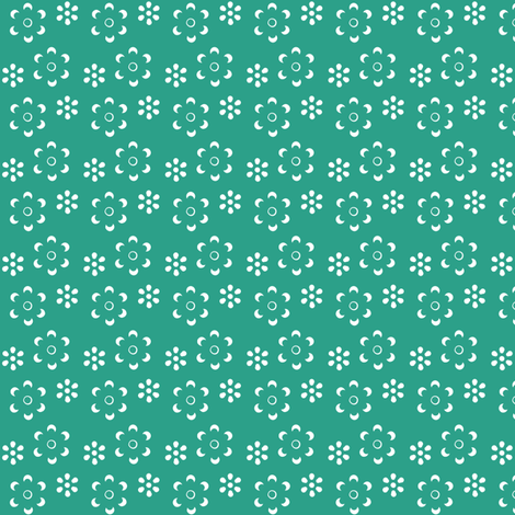 Court & Spark - Scandi Floral Cutout White on Turquoise fabric by courtandspark on Spoonflower - custom fabric