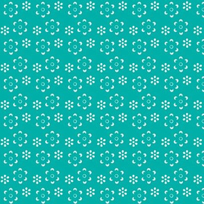 Court & Spark - Scandi Floral Cutout White on Turquoise