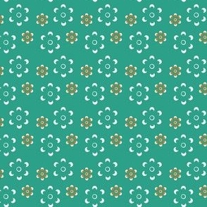 Court & Spark - Scandi Daisy Orange on Turquoise