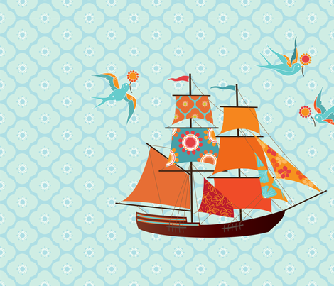 Tall Ship fabric by kayajoy on Spoonflower - custom fabric