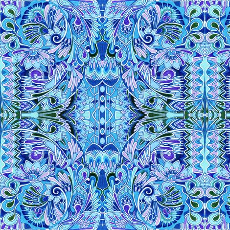 Deco the Halls (blue) fabric by edsel2084 on Spoonflower - custom fabric