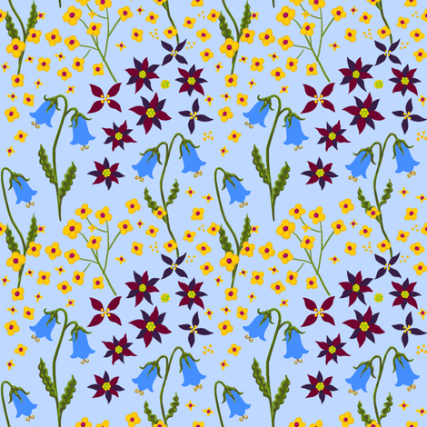 lyrd floral 12 basic lght  fabric by thatswho on Spoonflower - custom fabric