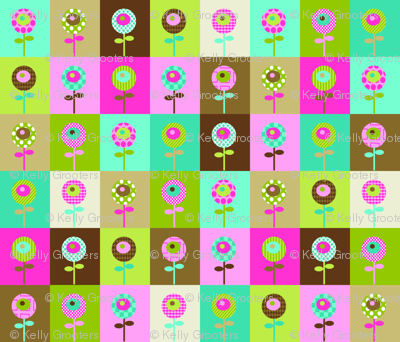 Quilty Flowers - brown colorway