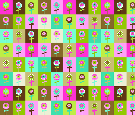 Quilty Flowers - brown colorway fabric by petunias on Spoonflower - custom fabric