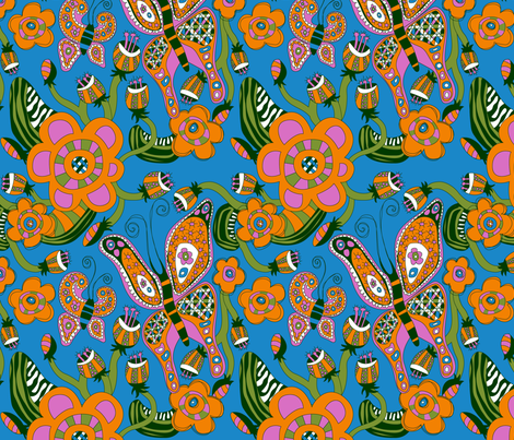 Butterfly and Flowers fabric by ghennah on Spoonflower - custom fabric
