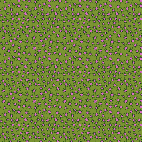 Pink on Green Prickly Dots fabric by ghennah on Spoonflower - custom fabric