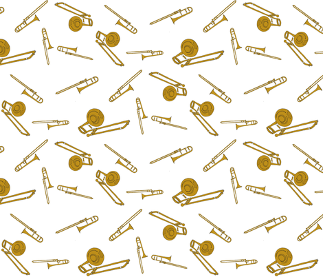 Rusty Trombones fabric by zimbiezooella on Spoonflower - custom fabric