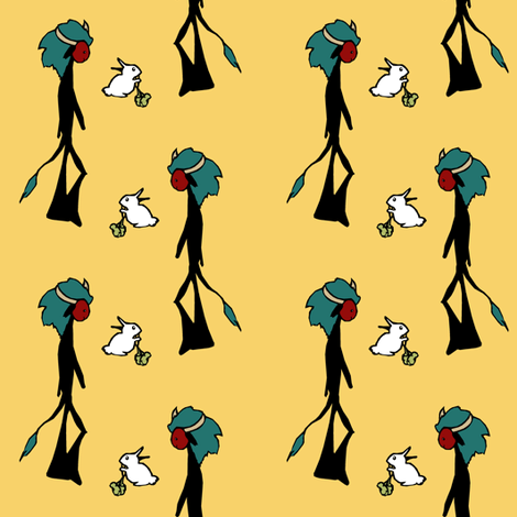 Fuzzy Monster Men &Their White Rabbits fabric by pond_ripple on Spoonflower - custom fabric