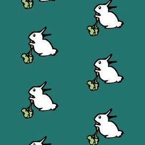White Rabbit on Teal