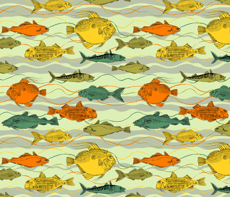 fishing with the flow fabric by woodledoo on Spoonflower - custom fabric