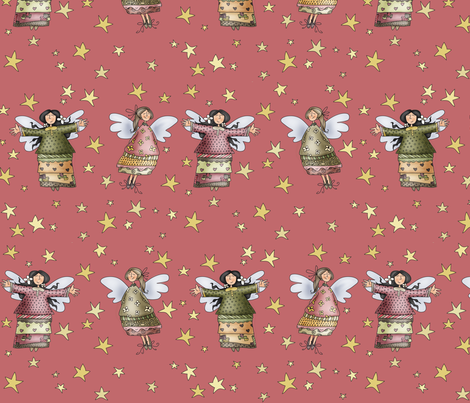 Sweet Angels - in pink fabric by catru on Spoonflower - custom fabric