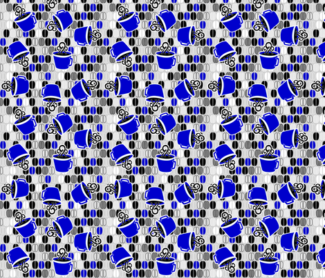 ©2011 Coffee Cafe - Blue, Grey, Black, White fabric by glimmericks on Spoonflower - custom fabric