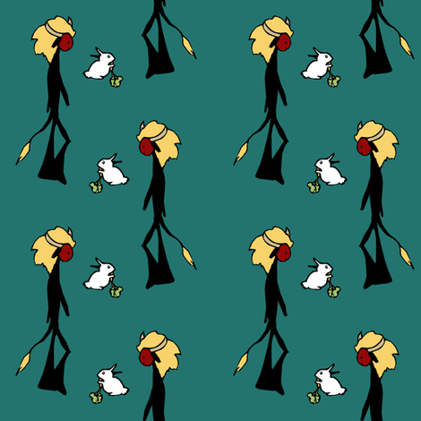 Fuzzy Monster Men &Their White Rabbits II. fabric by pond_ripple on Spoonflower - custom fabric
