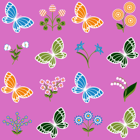 Butterflies and Flowers fabric by siya on Spoonflower - custom fabric