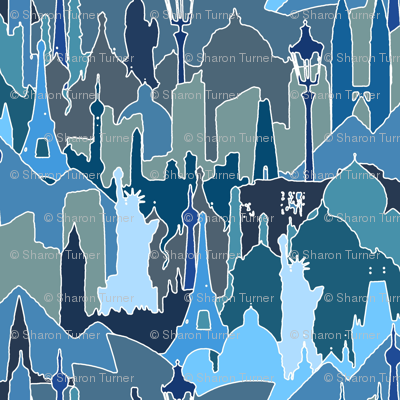METROMASH cityscapes of the world blue