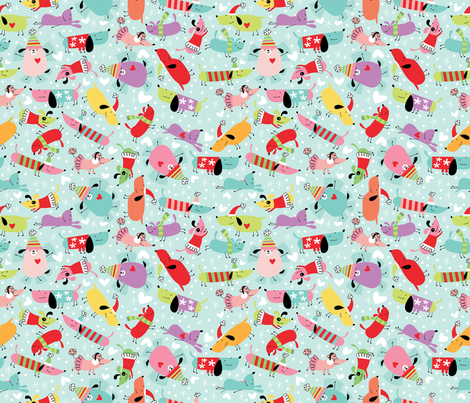 Merry Little Dogs fabric by cynthiafrenette on Spoonflower - custom fabric