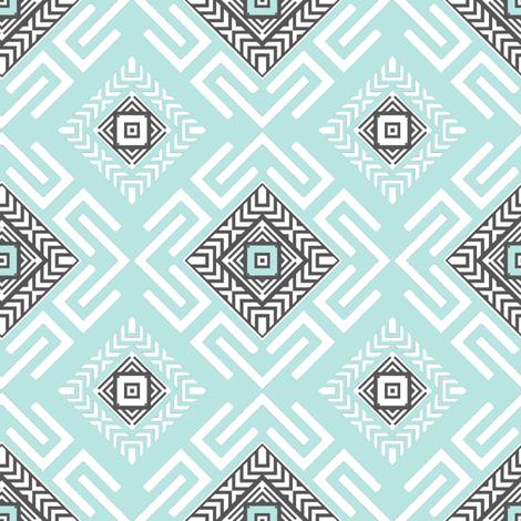Fretwork in Aqua fabric by joanmclemore on Spoonflower - custom fabric