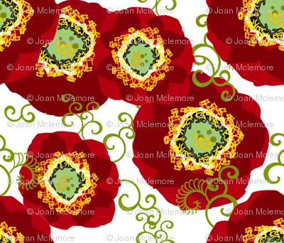 Poppies 1 yard scarf