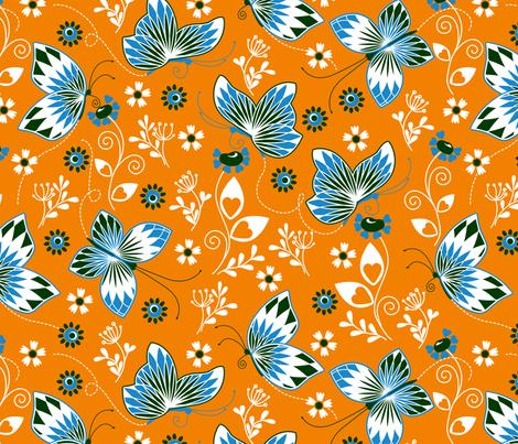 Butterfly garden orange fabric by cjldesigns on Spoonflower - custom fabric