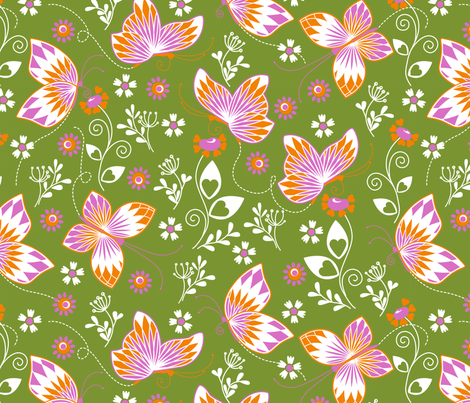 Butterfly garden green 2 fabric by cjldesigns on Spoonflower - custom fabric