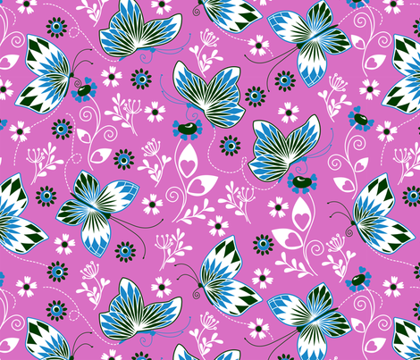 Butterfly garden pink fabric by cjldesigns on Spoonflower - custom fabric