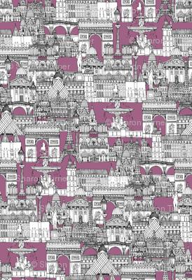 Paris toile raspberry