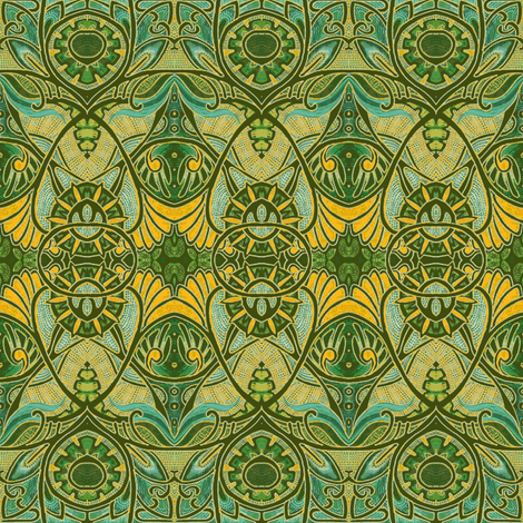 Victorian Gothic (olive/gold negative) fabric by edsel2084 on Spoonflower - custom fabric