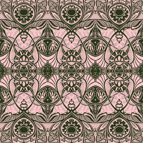 Victorian Gothic (dark olive and pink) fabric by edsel2084 on Spoonflower - custom fabric