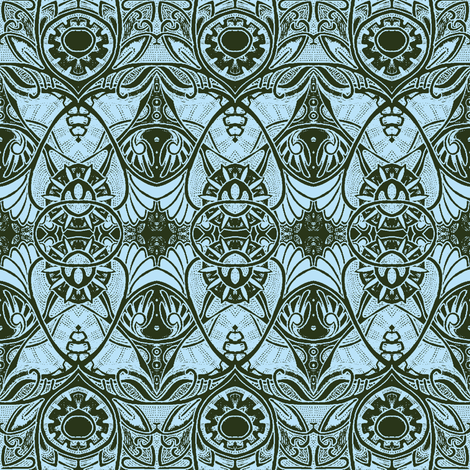 Victorian Gothic (dark olive and blue) fabric by edsel2084 on Spoonflower - custom fabric