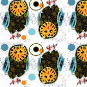 Brown teal winged Owl