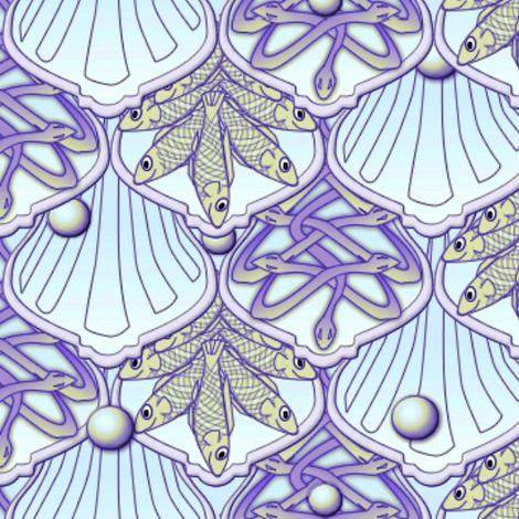 © 2011 Mermaid's Wedding Feast  amethyst gold fabric by glimmericks on Spoonflower - custom fabric