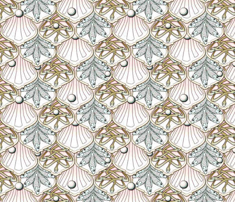 © 2011 Mermaid's Wedding Feast pink blue green fabric by glimmericks on Spoonflower - custom fabric